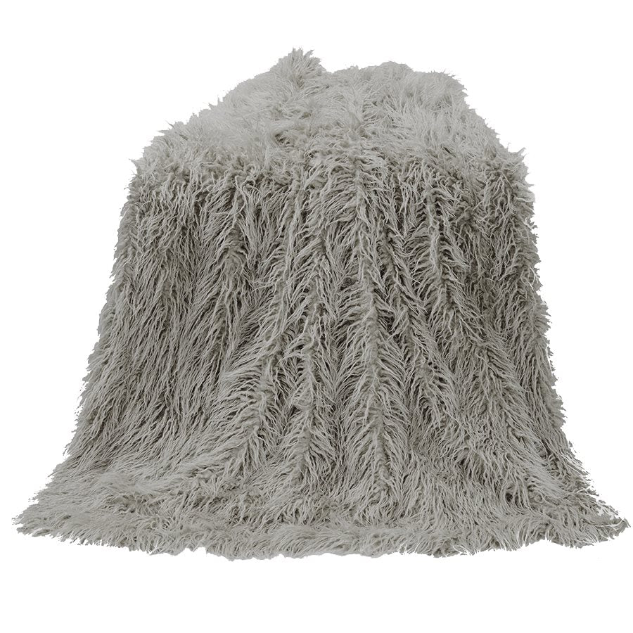 Mongolian Faux Fur Throw - Grey