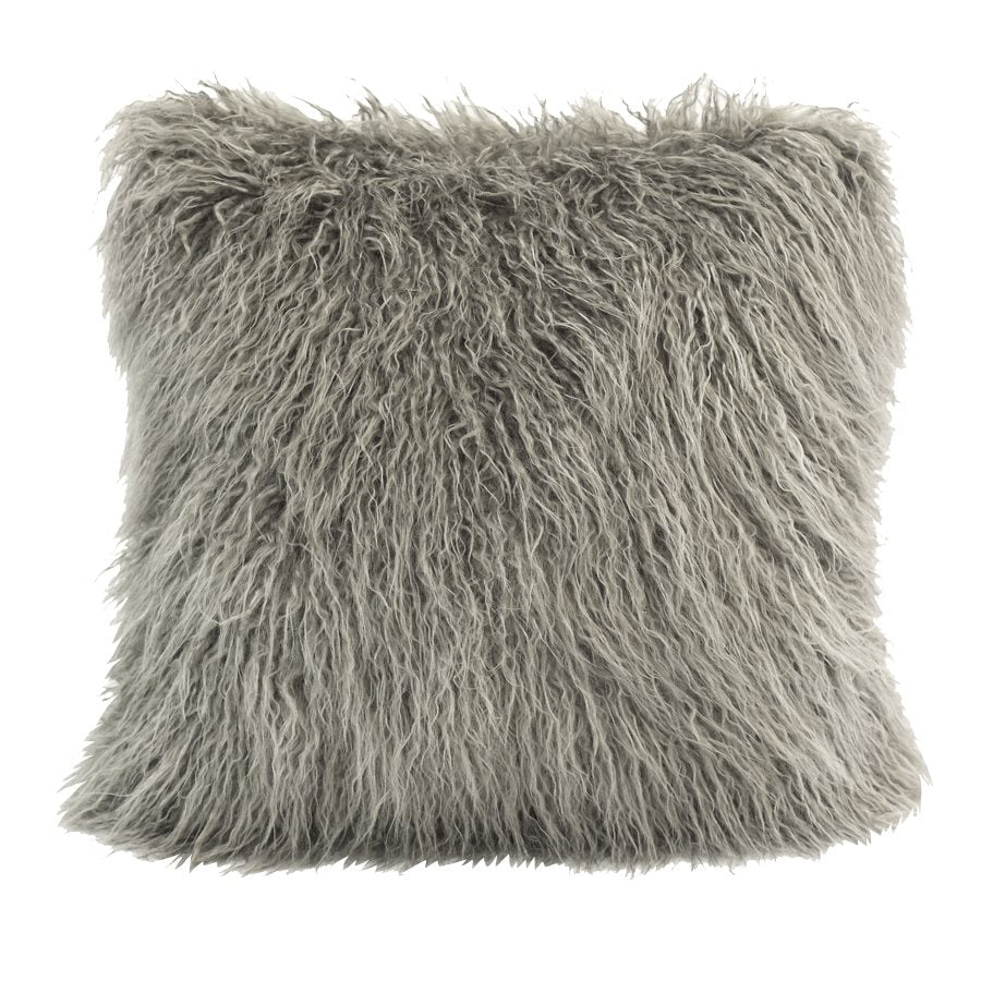 Mongolian Faux Fur Pillow - Grey