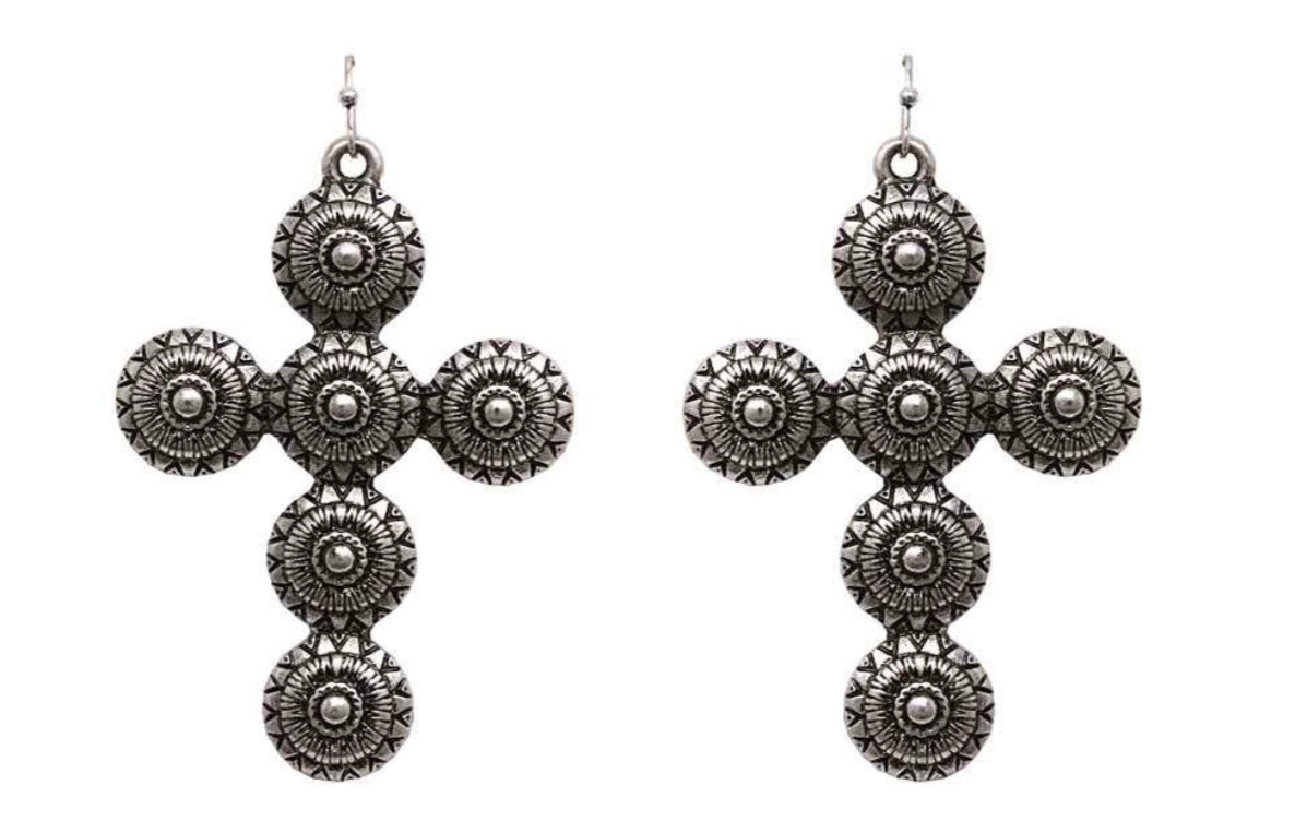 Silver Metal Concho Cross Earrings