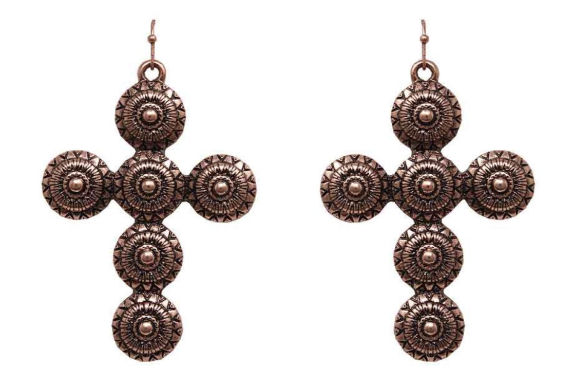 Bronze Metal Concho Cross Earrings