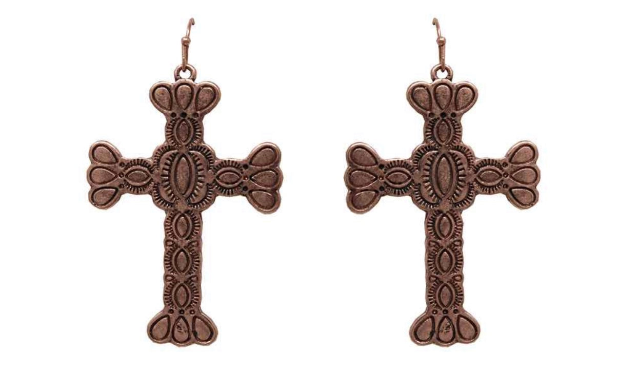 Bronze Detailed Metal Cross Earrings