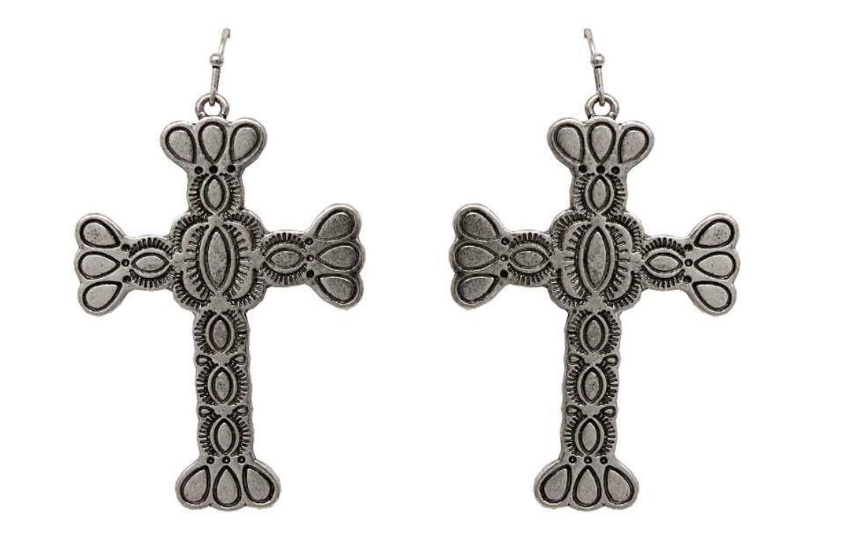Silver Detailed Metal Cross Earrings