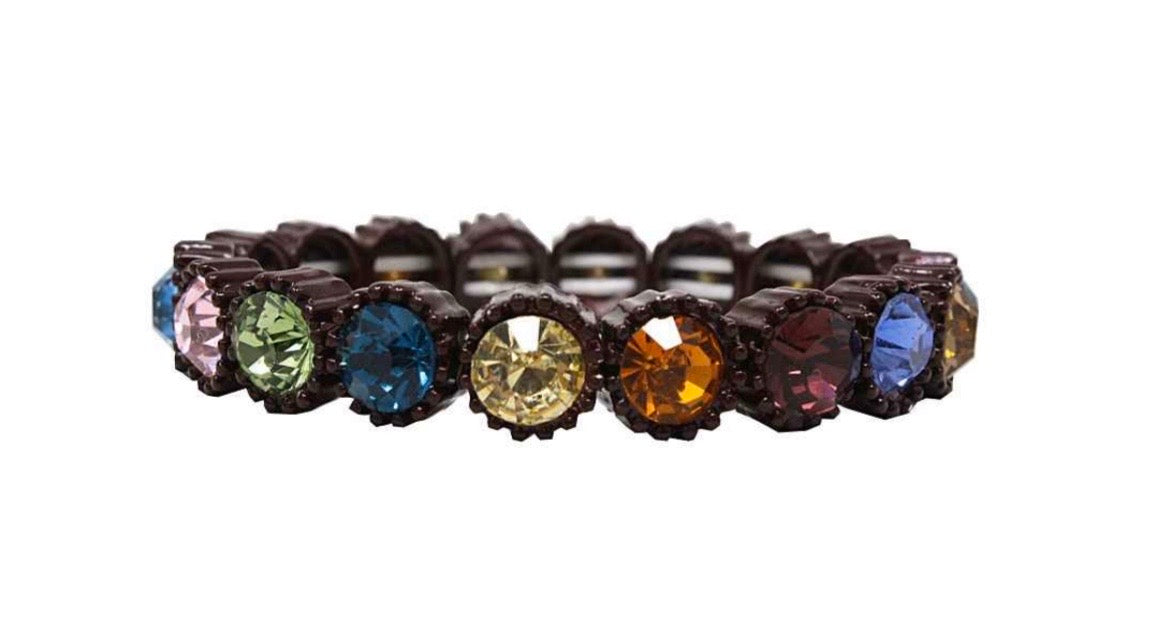 Brown Metal Multicolor Jeweled Bracelet