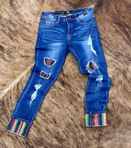 Serape Patched Dark wash mid rise jeans