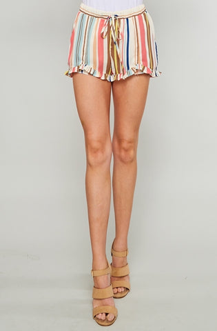 Jasmine Striped Ruffle Shorts - Mint