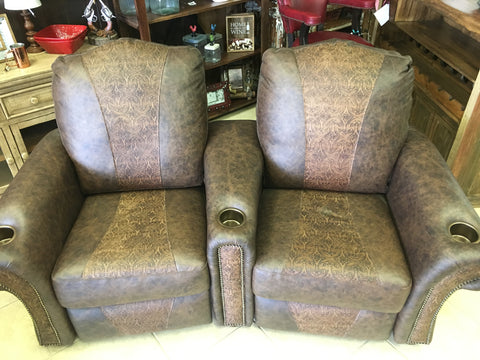 Nevada 2-Seater Leather Push Back Home Theater Recliners