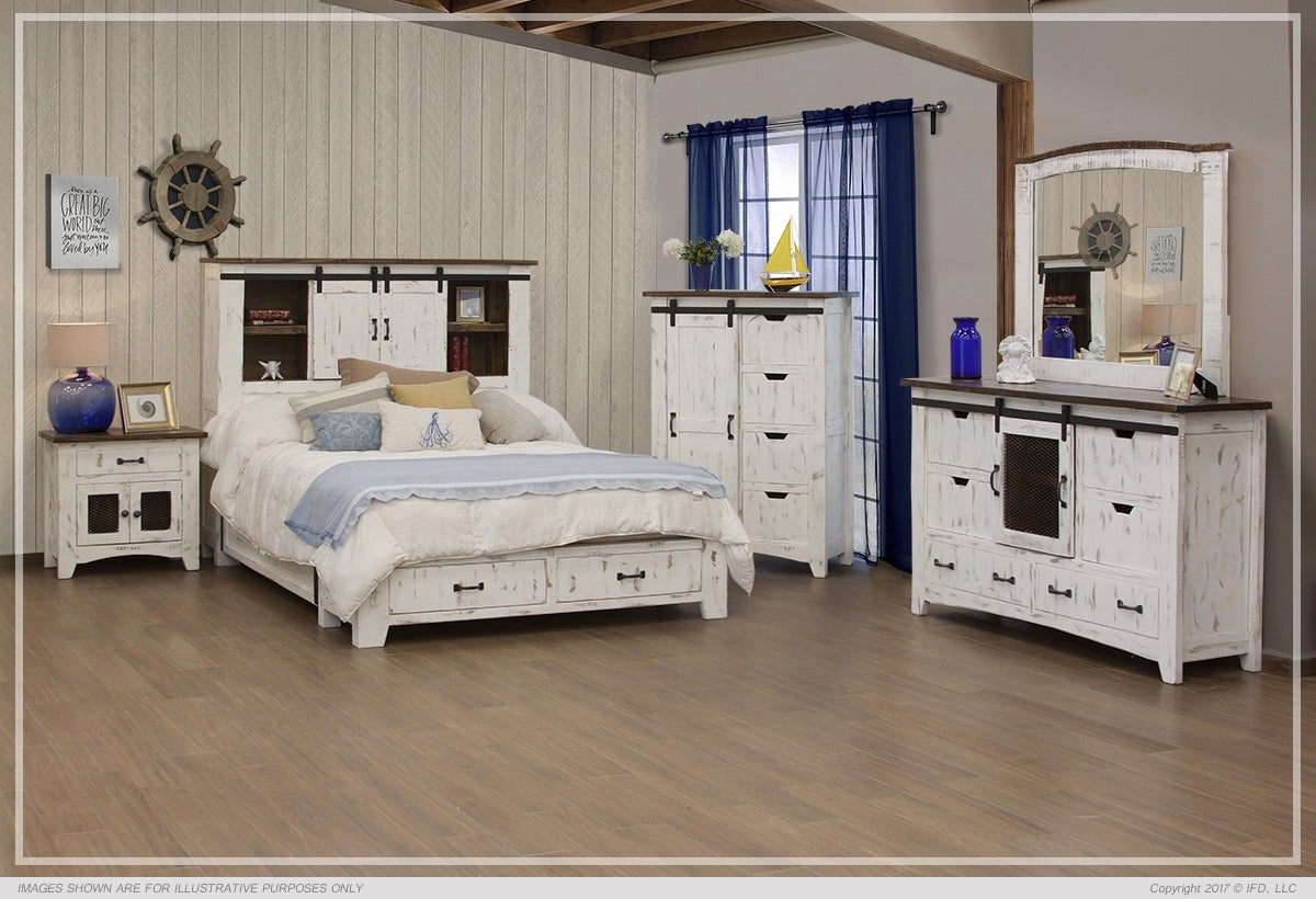 Queen Storage Pueblo Bed -White