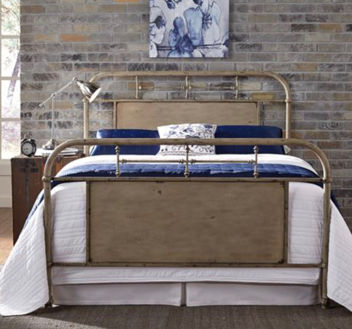 King Metal Bed - Cream