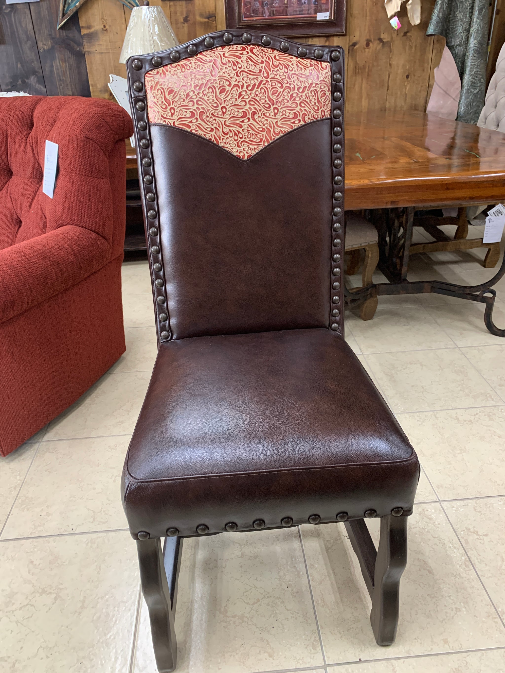 Custom Tooled Dining Room Chair- Dark Leather