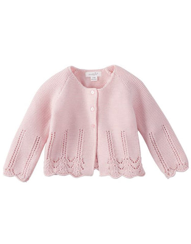Pink Eyelet Little Girls Cover Up Sweater