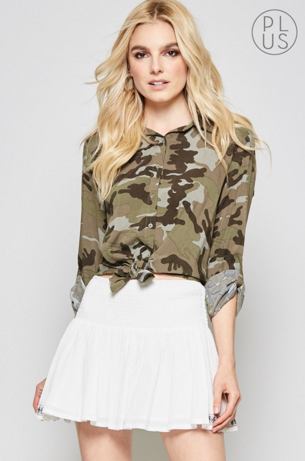 Eloise Embroidered Patch Button Up Top - Camo