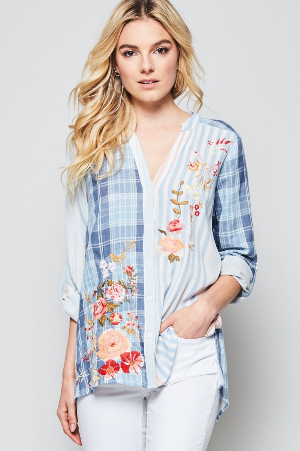 Adaline Floral Embroidered Top - Pastel