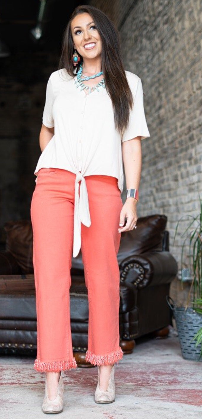 Olivia Frayed Boyfriend Jeans - Coral