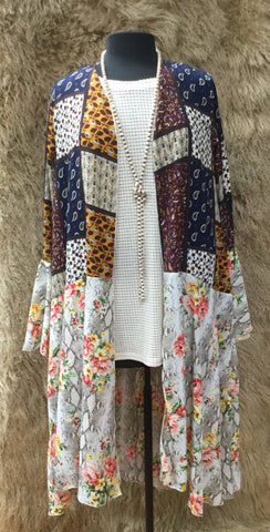 Luna Duster- White floral snake skin with pattern