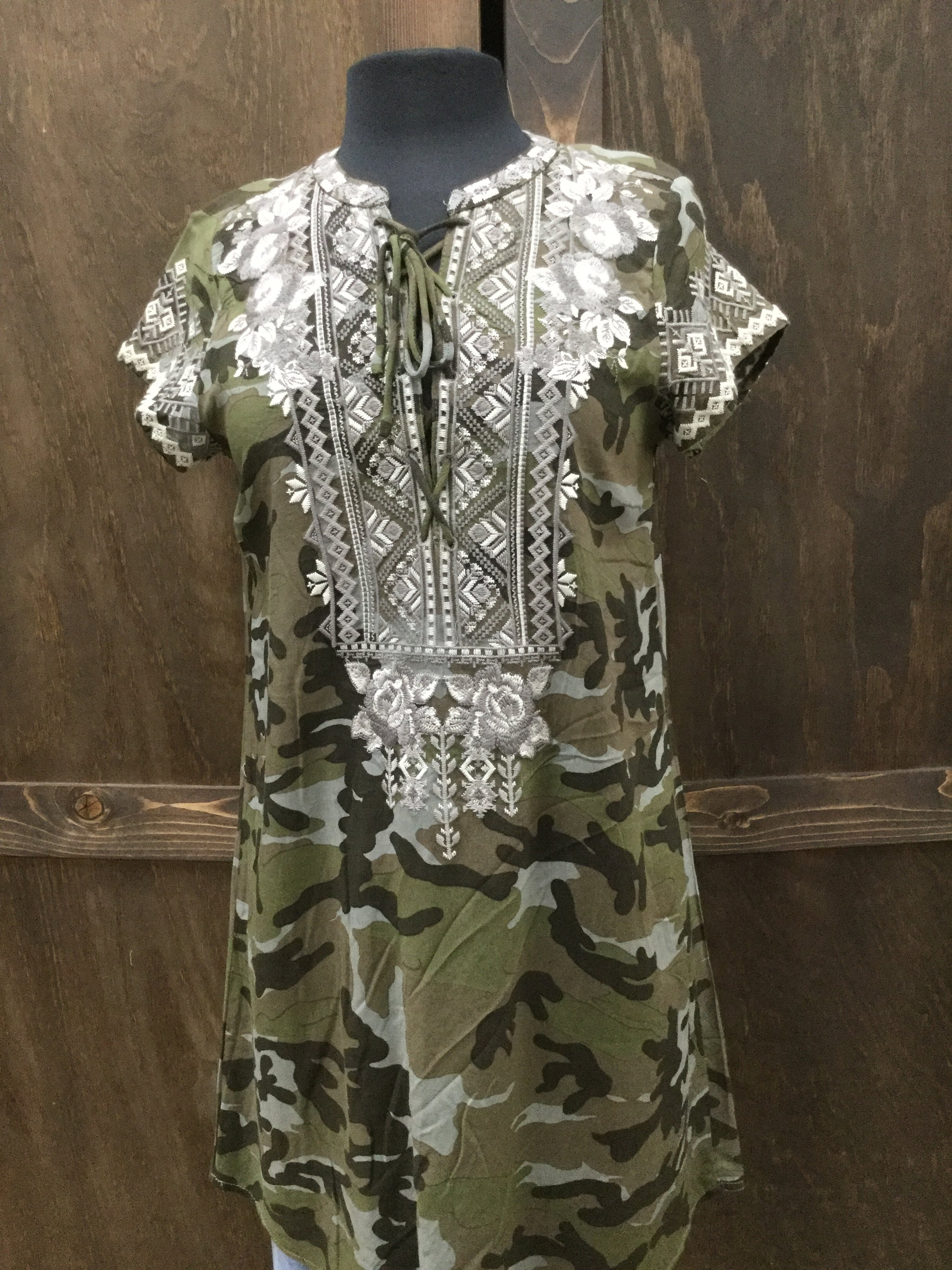 Milly Embroidered Dress- Camo