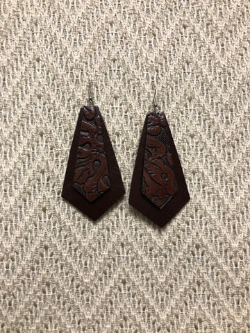 Double Layer Leather Earrings - Brown