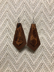 Double Layer Leather Earrings - Light Brown