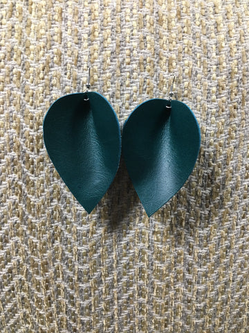 Leather Leaf Earring - Teal Small