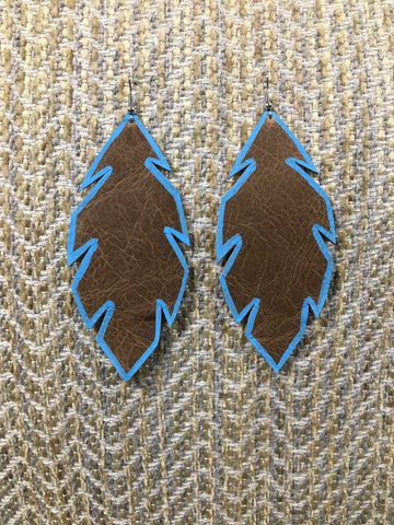 Feather Earring - Large Brown/Blue Edge