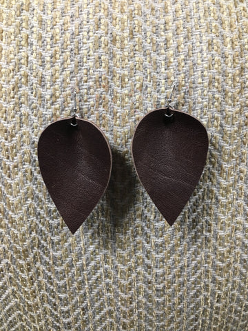 Leather Leaf Earring - Chocolate Large