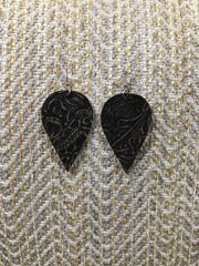 Distressed Tooled Leather Earring - Brown
