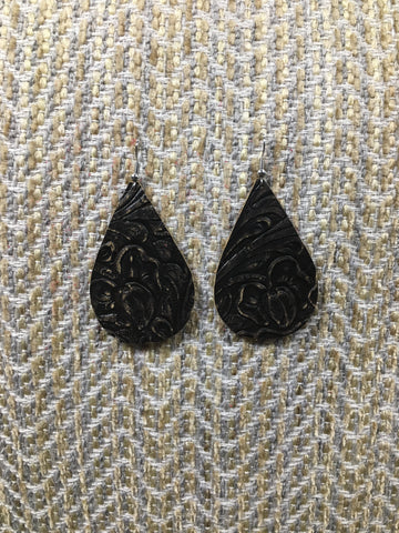 Teardrop Distressed Tooled Leather Earring - Brown