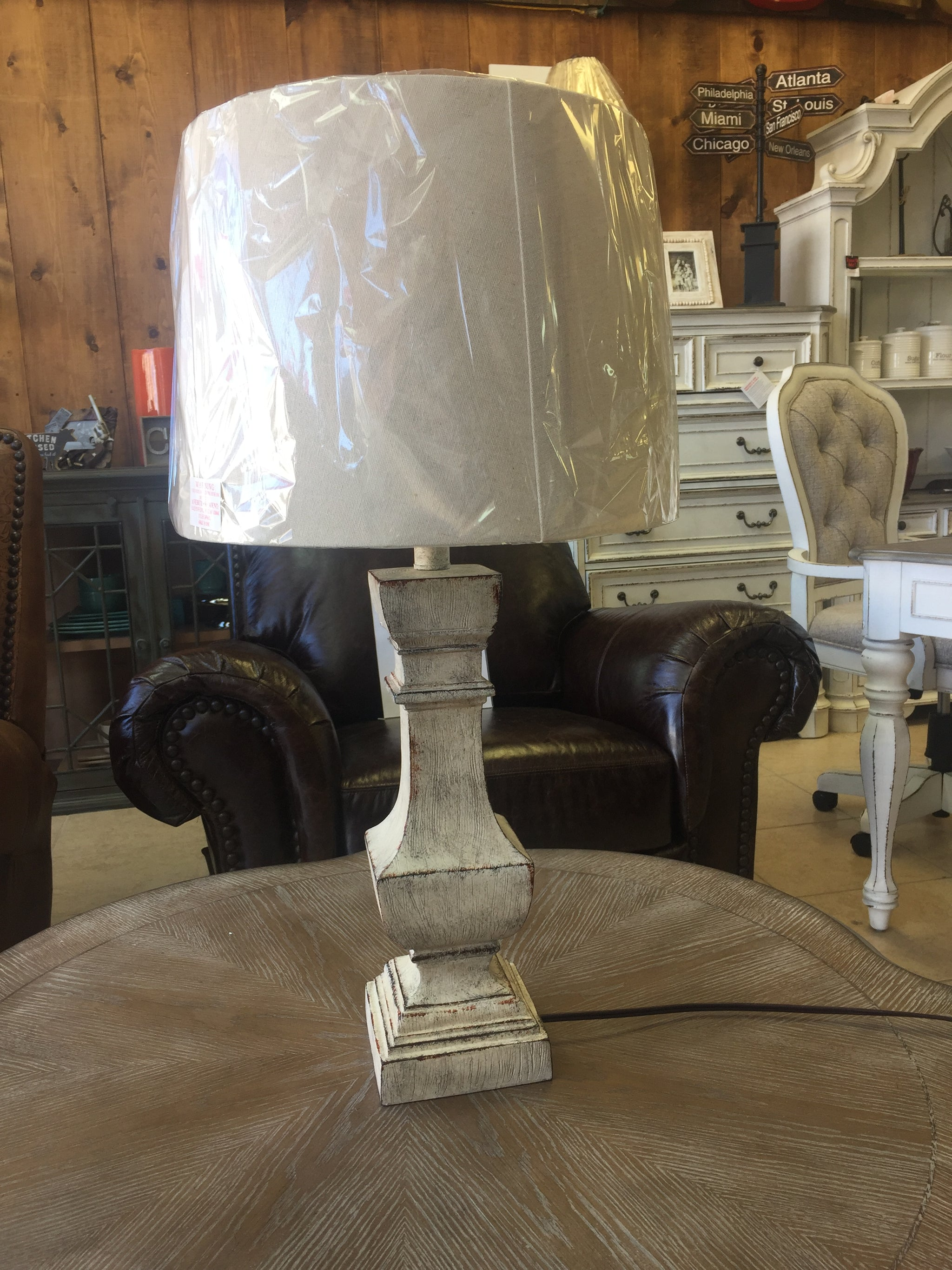 White Rustic Lamp