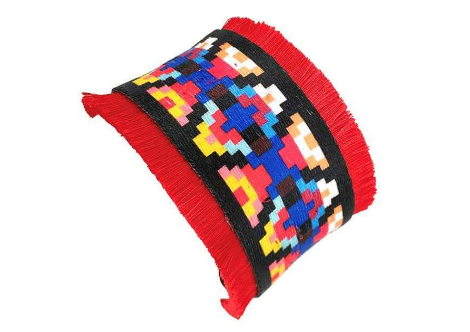 Red Fray Aztec Cuff Bracelet
