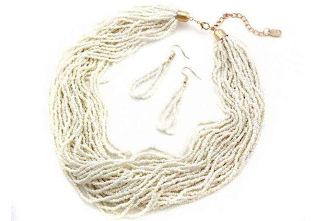 Tan Seed Bead Layer Necklace Set