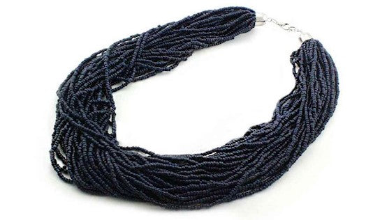 Navy Seed Bead Layer Necklace Set