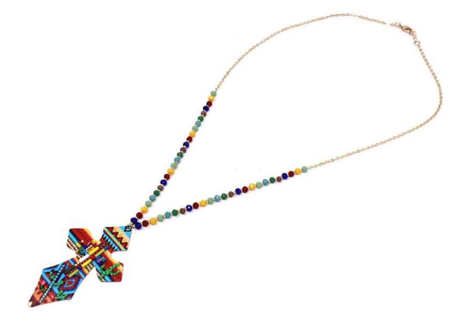 Cross Multi Long Seed Bead Necklace