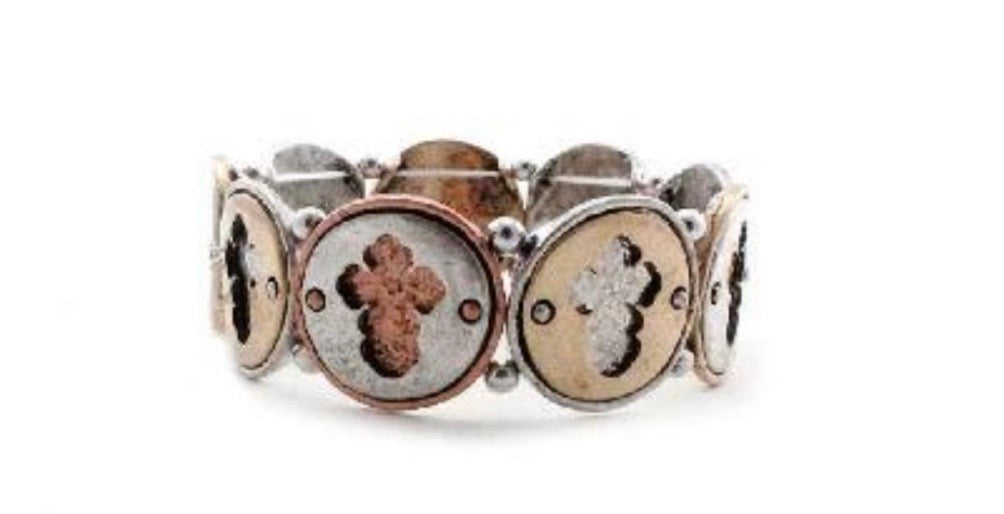 Mixed Round Western Cross Bracelet