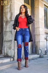 Emmy Boyfriend Patch Jeans- Red and Black Buffalo Plaid