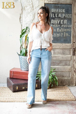 Sierra Wide Leg Flare Jeans - Light Wash