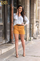 Kassie High Waist Shorts - Mustard