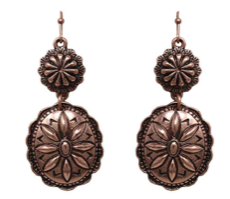 Bronze Oval Double Concho Earrings