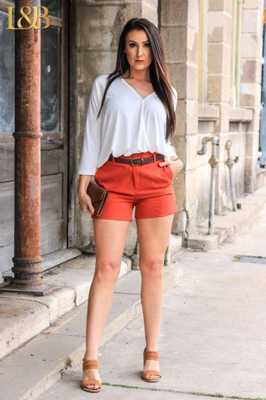 Kassie High Waist Shorts - Rust