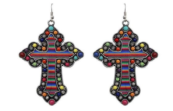 Multicolor Serape Metal Cross Earrings