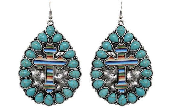 Western Turquoise & Serape Cross Metal Earrings
