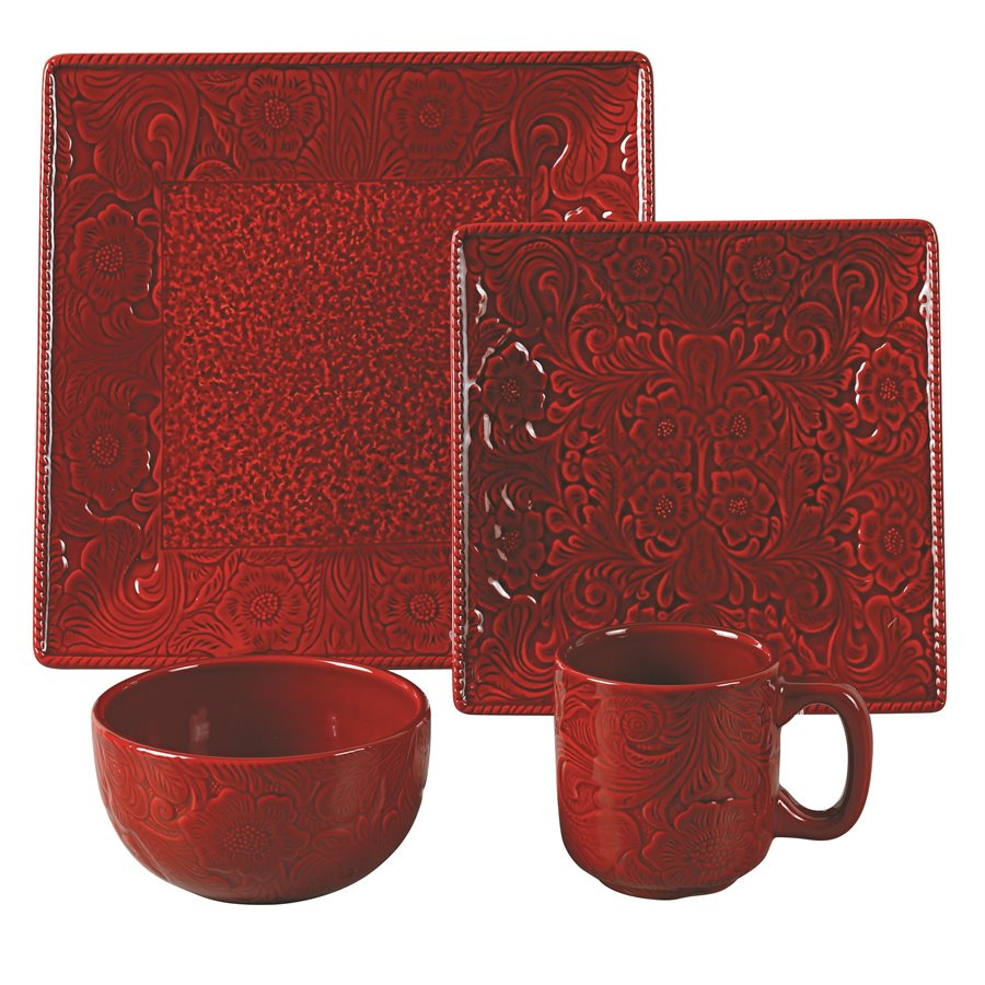 Savannah 16 PC Dishes Set - Red