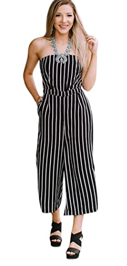 Shayla Stripe Strapless Jumpsuit- Black