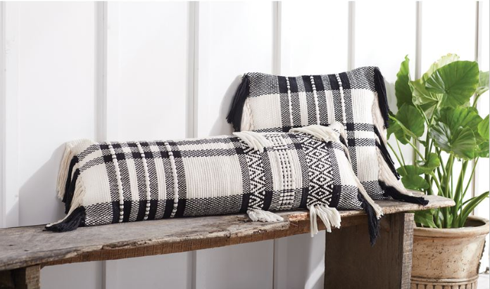 Square Black White Check Pillow