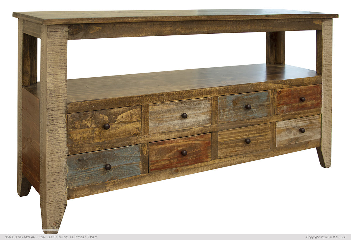Antique Multi-Drawer Sofa Table With 8 Drawers