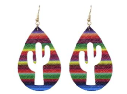 Serape Cactus Cutout Teardrop Earrings