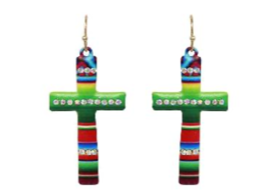 Green Serape Metal Cross Earrings