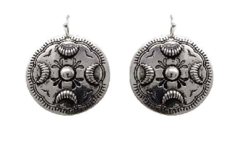 Silver Western Concho Metal Earrings