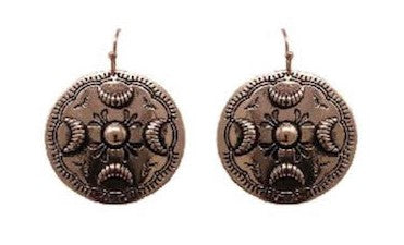 Bronze Western Concho Metal Earrings