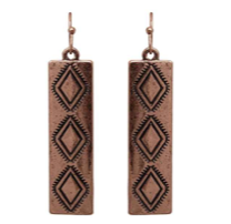 Bronze Aztec Dangle Earrings
