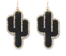 Black Bling Cactus Earrings