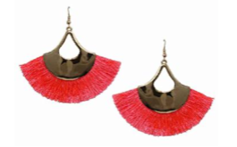 Neon Pink Tassle Flair Earrings